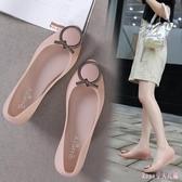 中大碼果凍鞋 夏季新款平底包頭淺口水晶鞋 坡跟 防水輕便雨鞋休閒女沙灘鞋 HT19709
