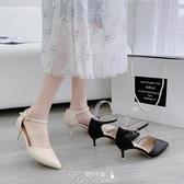 單鞋2020年春季新款貓跟尖頭中空涼鞋細跟一字扣女鞋通勤高跟鞋女 提拉米蘇
