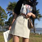 (全館一件免運)DE SHOP~(A-4849)A字裙毛邊牛仔裙女學生高腰包臀半身裙