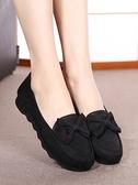 媽媽鞋春季老北京布鞋女鞋平底單鞋蝴蝶結休閒鞋黑色工作鞋媽媽鞋豆豆鞋  迷你屋 新品