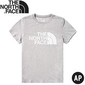 【The North Face 女 LOGO短袖棉T恤《中灰》】499F/短袖上衣/圓領T恤/休閒短袖