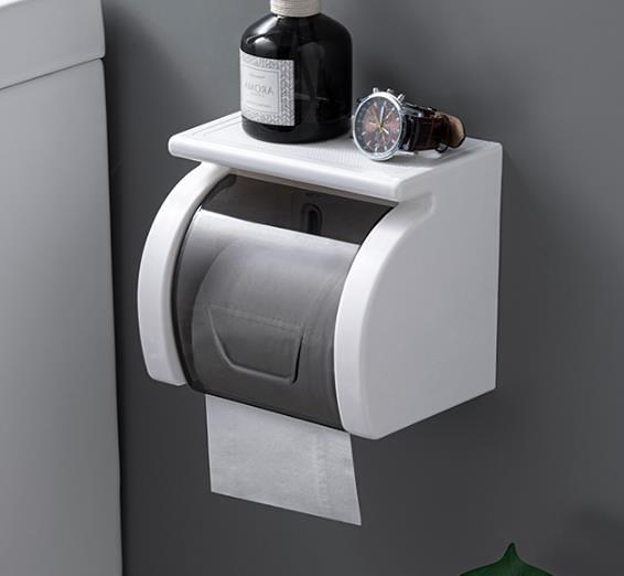 衛生間廁所紙巾盒浴室壁掛式紙巾架防水卷紙盒免打孔廁紙盒卷紙架 3C數位百貨