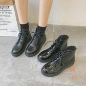 機車馬丁靴女英倫風漆皮粗跟短靴高筒靴子【橘社小鎮】