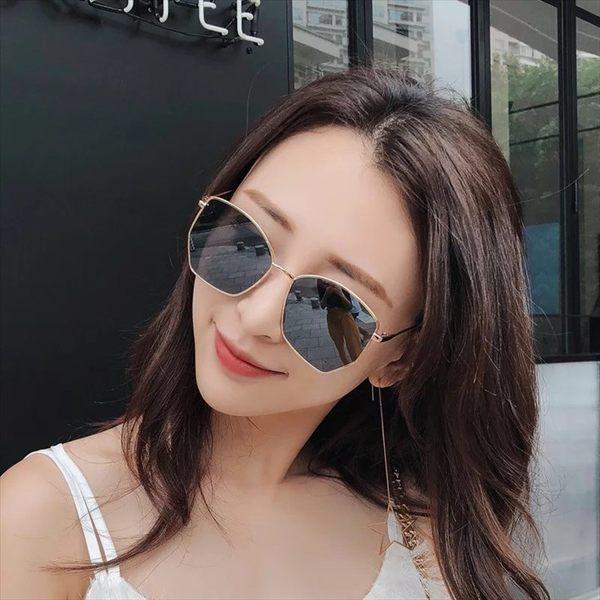 現貨-韓版ins復古原宿風太陽眼鏡新款高檔男女多邊形幾何造型太陽眼鏡韓版金屬時尚墨鏡273