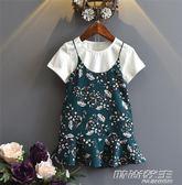 童裝女童套裝韓版夏季新款棉短袖T恤加雪紡吊帶裙兩件套中小童   時尚教主