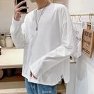 秋季長袖t恤男士寬松韓版潮流情侶裝衛衣丅體恤打底衫上衣服 快速出貨