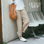 Queen Shop【04080105】口袋造型鬆緊腰棉麻老爺褲 兩色售 S/M*預購*