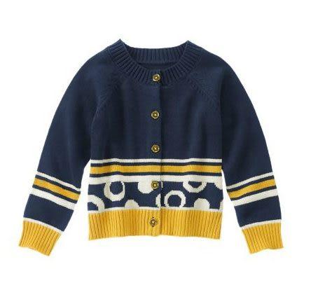 GYMBOREE外套 黃邊設計圖案深藍色設計款開襟外套 XS (Final sale)