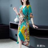 碎花流行裙子2020年新款連身裙女春夏長裙收腰顯瘦氣質 FX4327 【科炫3c】