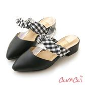 amai異材質撞色拼接小啾穆勒鞋 紐西黑x黑白格紋