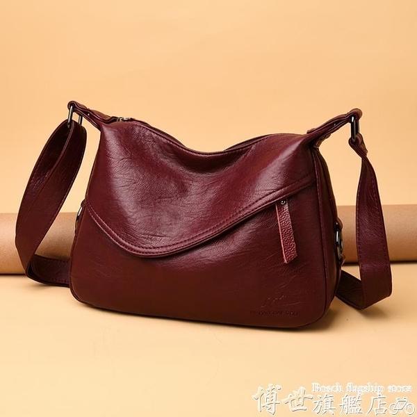 斜背包袋鼠真皮中年包包女軟皮大容量媽媽包中老年側背斜背女包