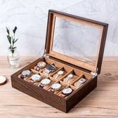 水曲柳木質手錶收藏盒玻璃天窗珠寶手串首飾手鍊腕錶手錶收納盒子十位 限時85折