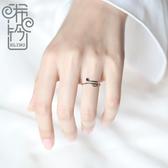 音符戒指女純銀開口可調節指環
