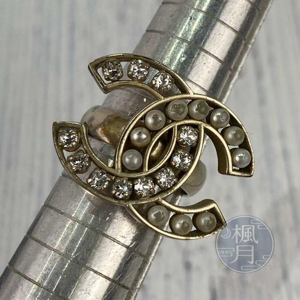BRAND楓月 CHANEL 香奈兒 14年 雙C 經典LOGO 珍珠水鑽 戒指 #52 飾品 配件