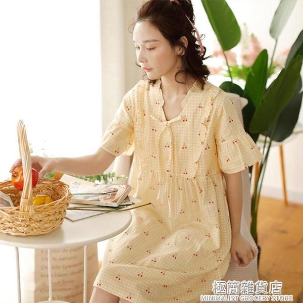 純棉紗布睡裙女日系格子短袖夏天全棉雙層韓版薄款睡衣家居服裙子 極簡雜貨
