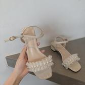 粗跟涼鞋2020夏涼鞋女ins超火韓版仙女風小跟一字帶粗跟網紅配裙子學生鞋 JUST M