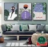 【單幅】摩登時尚人物北歐手繪裝飾畫背景墻服裝店掛畫【福喜行】