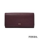 FOSSIL LOGAN 三折真皮拉鍊RFID長夾-無花果紫紅色 SL7929503