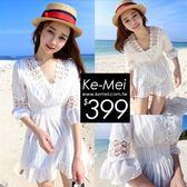 克妹Ke-Mei【ZT50817】泰國潮牌 女神渡假風勾織蕾絲V領娃娃洋裝
