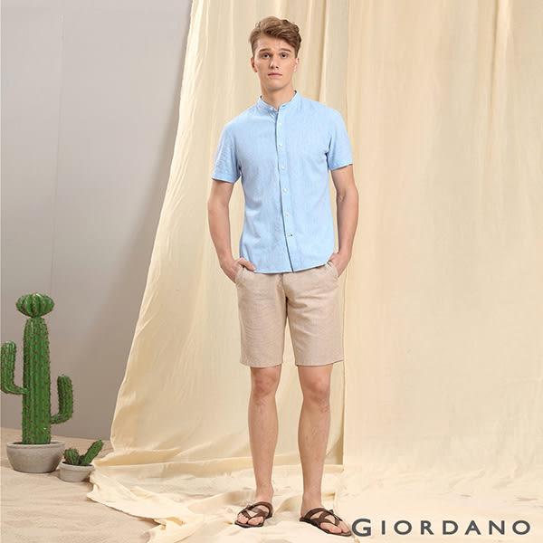 【GIORDANO】男裝附腰帶素色棉麻休閒五分褲-17 洗水卡其/標誌白