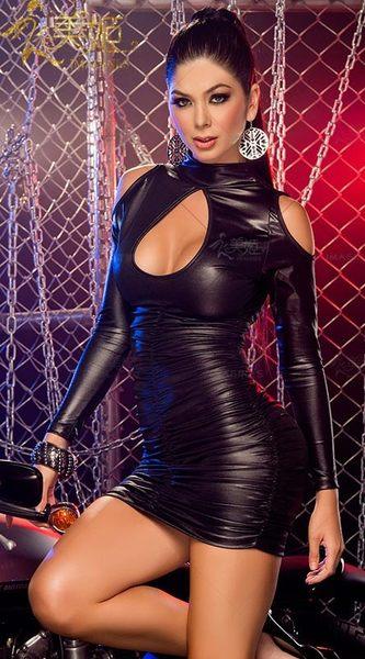 衣美姬♥歐美 長袖漆皮 夜店洋裝 性感火辣連身裙 露胸 包臀女鋼管舞者服裝