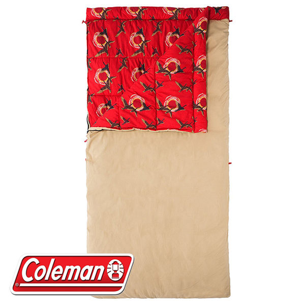 Coleman CM-32350 番茄紅 懷舊睡袋/C0 適溫0度 露營寢袋/保暖被/懶人毯/雙撚棉布