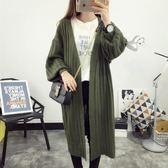 秋冬針織衫時尚燈籠袖寬鬆開衫毛衣中長款外套