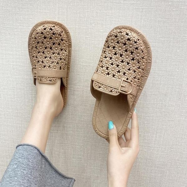 洞洞鞋女外穿時尚軟底拖鞋花朵ins潮護士鞋網紅涼拖鞋防滑沙灘鞋 蘇菲小店