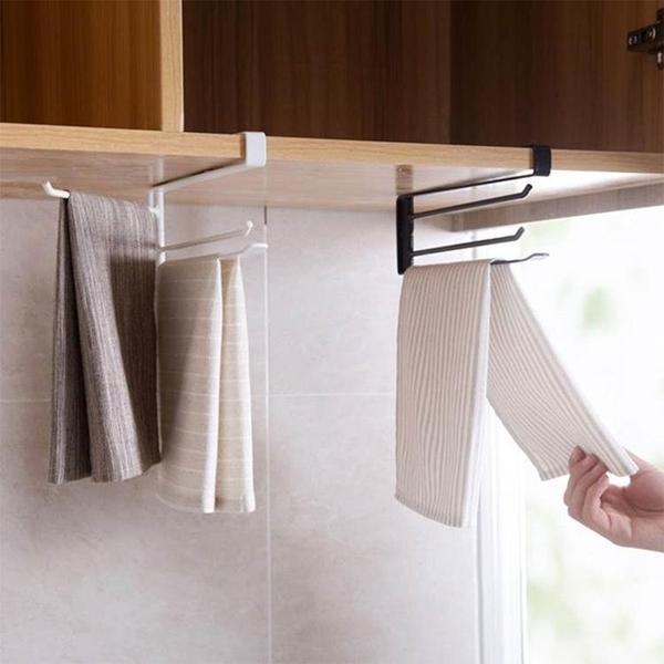 北歐廚房免打孔毛巾架 家用創意掛鉤旋轉抹布架毛巾桿夾WD 雙十一全館免運