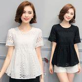 蕾絲衫 時尚韓版夏季短袖收腰遮肚子上衣純棉T恤女寬松顯瘦 IV1021【衣好月圓】