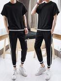 男士韓版短袖t恤套裝男生潮流半袖體恤夏裝休閒運動衣服 俏腳丫