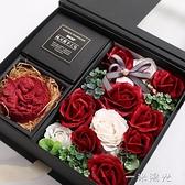七夕情人節禮物送女友肥皂花禮盒diy手工玫瑰花香皂花永生花花束  一米陽光