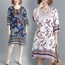 七分袖洋裝 夏裝民族風復古印花七分袖連身裙女寬鬆大碼度假沙灘裙子-Ballet朵朵