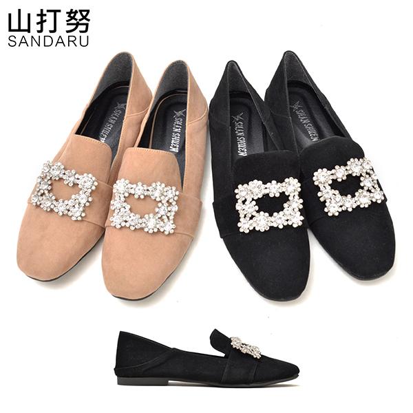 兩穿紳士鞋 奢華水鑽方頭休閒鞋- 山打努SANDARU【1071866#46】