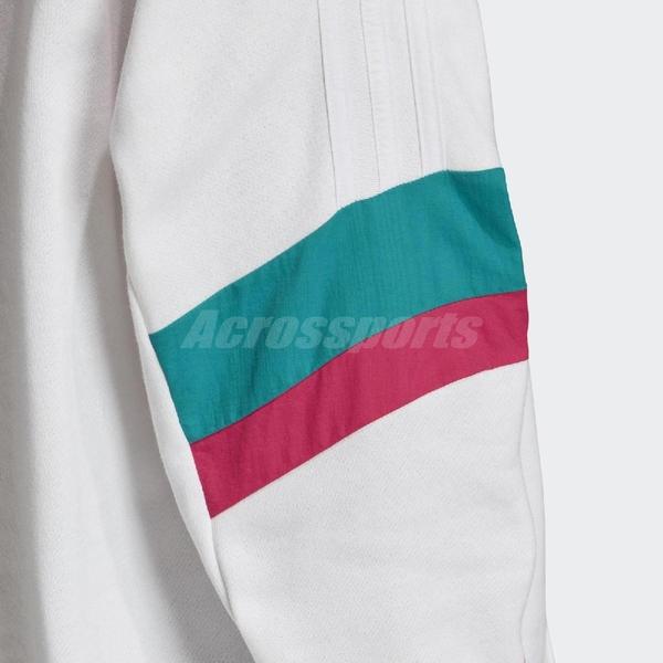 adidas 長袖T恤 BF Hoodie 白 彩色 女款 帽T 運動休閒 長版 【PUMP306】 GC8770