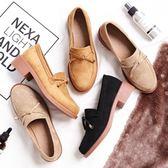 秋季英倫風中跟豆豆鞋 一腳蹬樂福鞋粗跟鞋【多多鞋包店】z4756