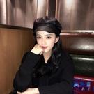 pu皮質八角帽子女英倫潮日系韓版時尚百搭皮帽貝雷帽【英賽德3C數碼館】