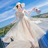 洋裝-短袖蕾絲星星透視網紗女連身裙2色73pu115[巴黎精品]