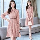 第二件4折 韓國風復古質顯瘦波點碎花蝴蝶結領長袖洋裝
