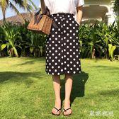 中長款A字裙 大尺碼波點半身裙女胖mm新款夏季顯瘦a字一步裙 QQ6324『東京衣社』