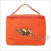 POLO 經典三馬騎士帆布手提化妝包(橘)