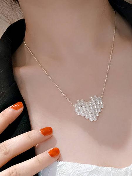 克妹Ke-Mei【AT53167】歐美外貿精品 珍珠圓釦T字美胸鎖骨頸鍊