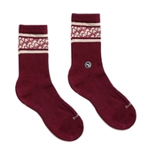 H2O 襪子 日常研究室 LAB CLASSIC SOCKS 老花紋 酒紅 銀離子抑菌抑臭纖維 男女 (布魯克林) 20SS03WN