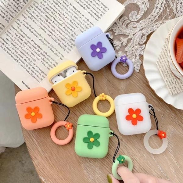 airpods2帶掛繩小花朵耳機套硅膠保護套防摔女款可愛個性創意韓國(不包含耳機)