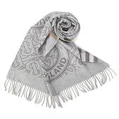 BURBERRY雙面兩用格紋拼圓標羊絨圍巾(淺灰色)089546-1