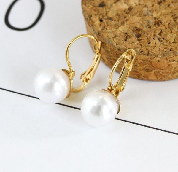 韓版 時尚 簡約 珍珠 耳墜 新款 韓國 明星 耳環 女珍珠 鑲嵌