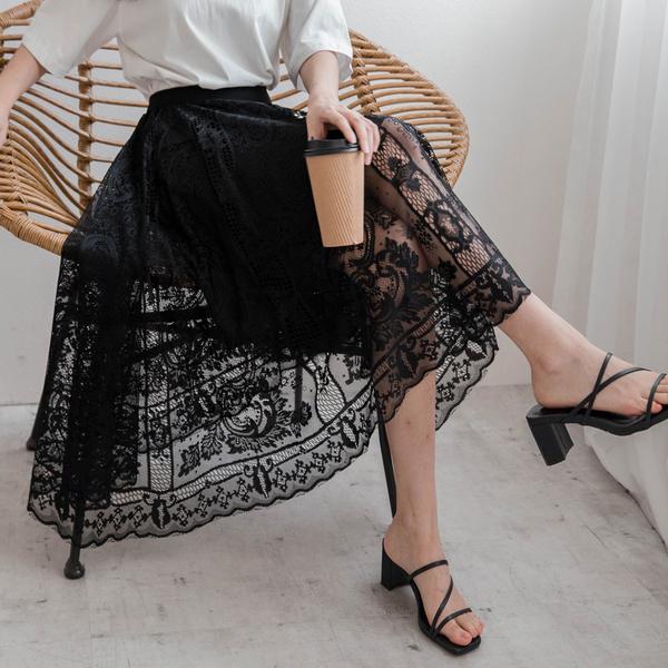 MIUSTAR 這麼美!古典蕾絲鬆緊腰中長裙(共2色)【NJ2020】預購