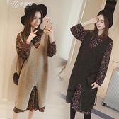 秋冬新款女裝韓版中長款針織馬甲背帶裙兩件套雪紡碎花套裝伊芙莎