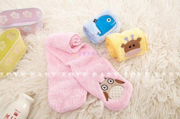 寶貝丹童裝╭☆ nikokids 寶寶超細纖維 刷毛 兒童 圍巾 粉紅貓頭鷹/藍色鯨魚/黃色長頸鹿