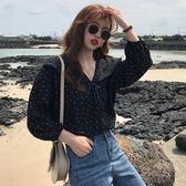 襯衫女長袖2018春裝新款網紅同款超火韓版雪紡衫學生寬鬆黑色襯衣